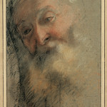 Federico Barocci (1535-1612) Study for the head of Saint Zaccharias Black, red, and white chalk with - Black, red, white and coloured chalk on blue paper 34.3 x 23.2 cm