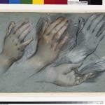 """Federico Barocci (1535-1612) Studies for the Virgin's Hands Charcoal with red and pink pastel height - Schwarzer, roter, rosa und weiáer Stift auf blauem Tonpapier von  <BR> Federico Barocci [30.09.1612]  <BR> H""""he x Breite 27,3 x 39,4 <BR> Inventar-Nr.: KdZ 20453 <BR> Person: Federico Barocci [um 1526 - 1612], Italienischer Maler <BR> Systematik:  <BR> Personen / Knstler / Barocci / Werke  Black red and white chalk on blue paper"""