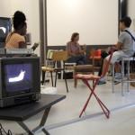 Dell' Angelo Marta  Agente-Agisce-Agito 2011 Installazione da performance. Sedie, disegni, monitor,.