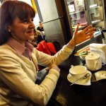 Rossella Bisazza, interviewed for ItalianTalks at Cafe Garibaldi in Vicenza, April 2013, photo by Pa