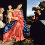 Tiziano 1 - Titian (1477/89-1576): Sacra Conversazione (Virgin and Child with Saints Catherine and Dominic). Corte di Mamiano, Fondazione Magnani Rocca*** Permission for usage must be provided in writing from Scala. May have restrictions - please contact Scala for details. ***