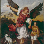 Tiziano 2 - Titian (1477/89-1576), school: Young Tobit and the Archangel Raphael. Venice, Accademia*** Permission for usage must be provided in writing from Scala.