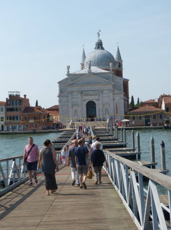 Crossing the Giudecca canal on the special pontoon bridge  Photo by Karen Henderson